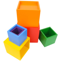 MrY 6Pcs Colorful Wooden Stacking Up Building Blocks Square Cubes Baby Kids Stacking Stack Up Square Box Children Wooden Stack Toys