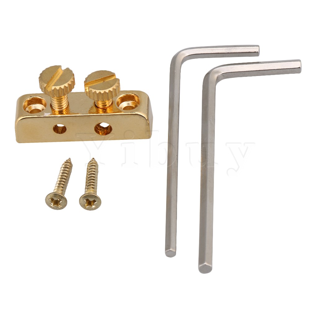 Yibuy Golden Allen Key Headstock Wrench Holder with Mounting Screws for Electric Guitar Bass Accessories niko pack of 50pcs chrome black gold guitar pickguard mounting screws 3 12mm for st tl lp sg electric guitar bass