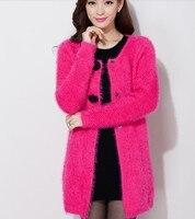 Winter Medium Long Plus Size Loose Cardigan Female Women S Mohair Sweater Outerwear