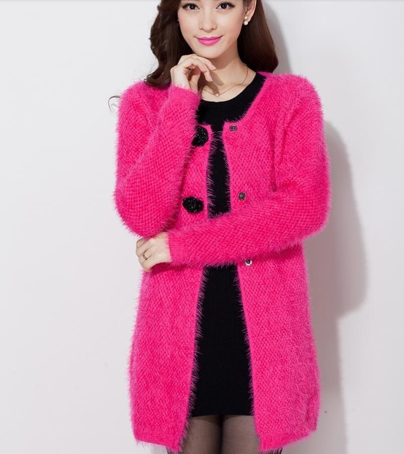 Winter medium long plus size loose cardigan female font b women s b font mohair sweater