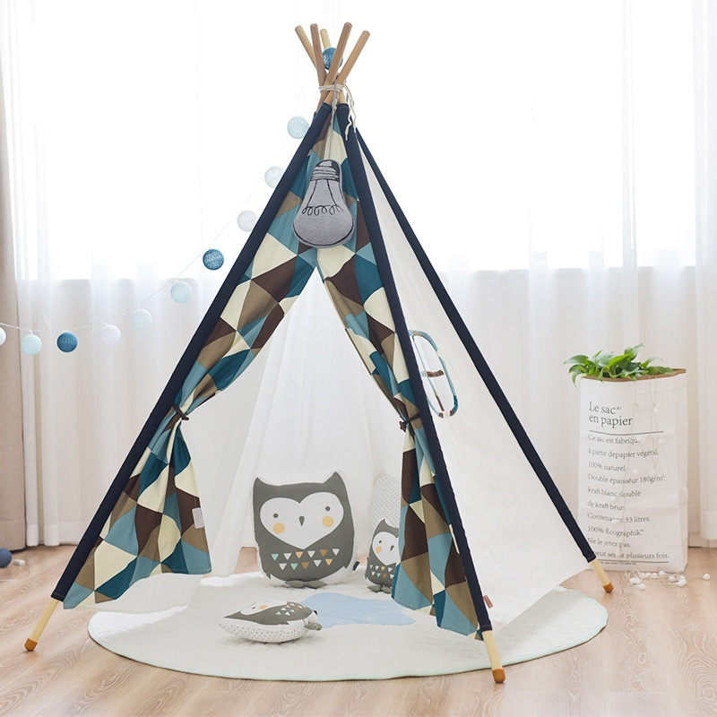 YARD Indian Kids House Play Tent Cotton Canvas Tipi Kids Tent House Play House Teepee Tent for Children foldable kid indoor tent kids outdoor playhouse children kids tent toys play tent game house indian teepee