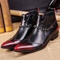 Бесплатная Доставка мужская Мода Смешанные Цвета ботинки Полное Зерно Кожа Острым Носом высота увеличение Мартин сапоги для мужчин