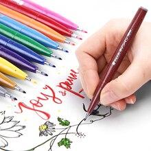 12 kleuren Japan Pentel Touch Brush Pen Set Kleur Kalligrafie Pennen Belettering Pennarelli Bullet Journal Supplies Vilt Tip Teken Pennen