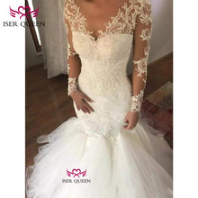 Long Sleeves with Fascinating Embroidered Lace on Net Vestidos De Novia Back Design of Button Illusion Mermaid w0579