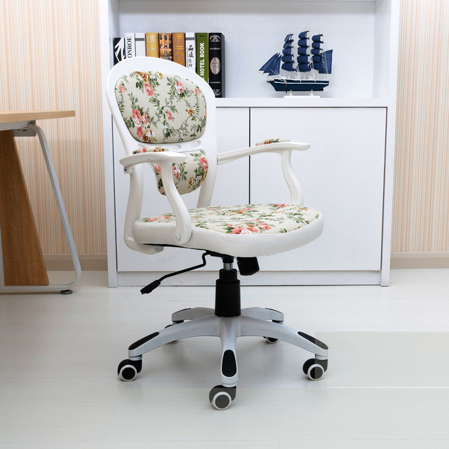 Computer Chair Office Chair Swivel Chair Student Staff Home White Floral  Print Princess European Style