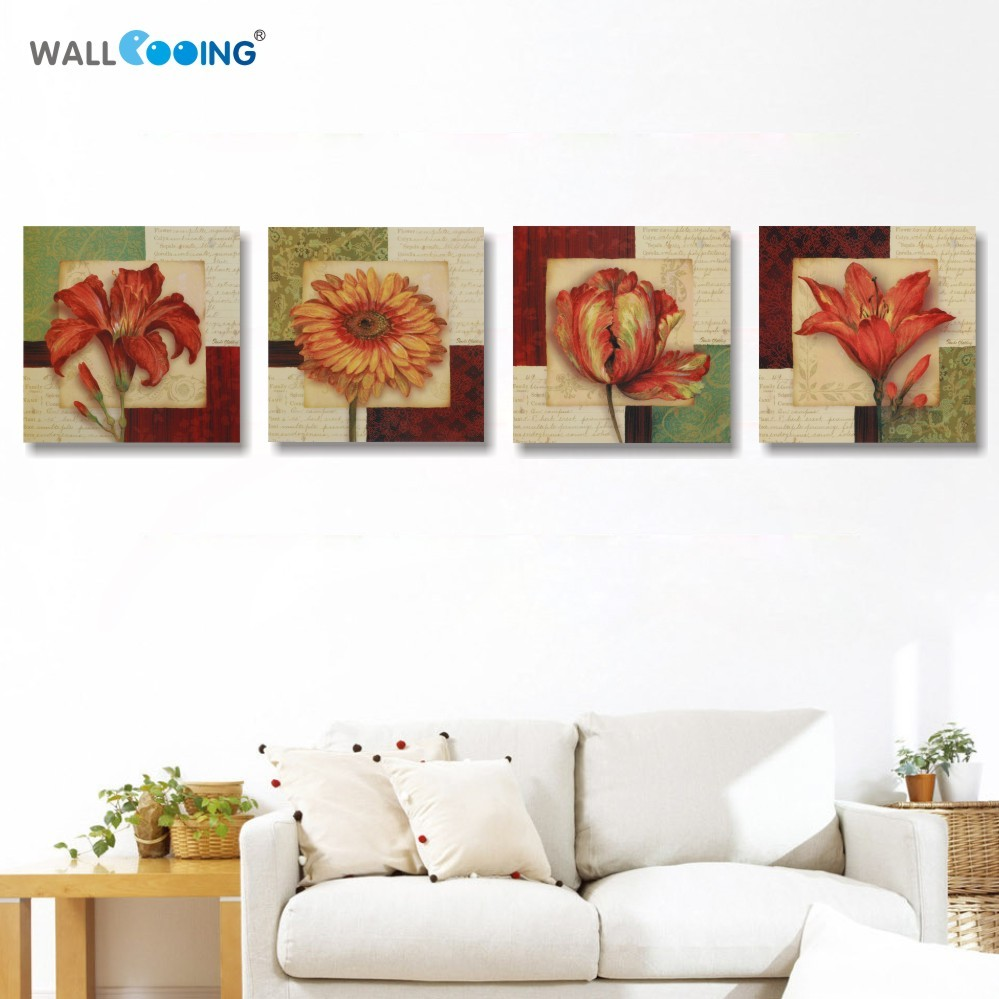 ▽4 piece canvas art vintage flower painting paintings for living ...