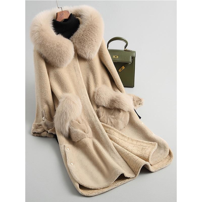 Vintage Femmes Veste À Fourrure Hiver Slim Renard Z814 camel De Beige Réel bleu Laine Automne Manteaux Nouveau Manteau Européen Capuchon Pocket Vison 4SwXvFxqW