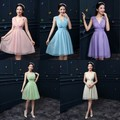 New Cheap Under 40$ Wedding Bridesmaid Dresses With 5 Colors Knee Length Chiffon Backless Ruffle V Neck Charming Short Gowns