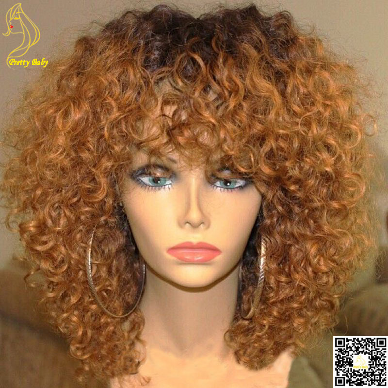 Honey Blonde Ombre Full Lace Human Hair Wigs Glueless