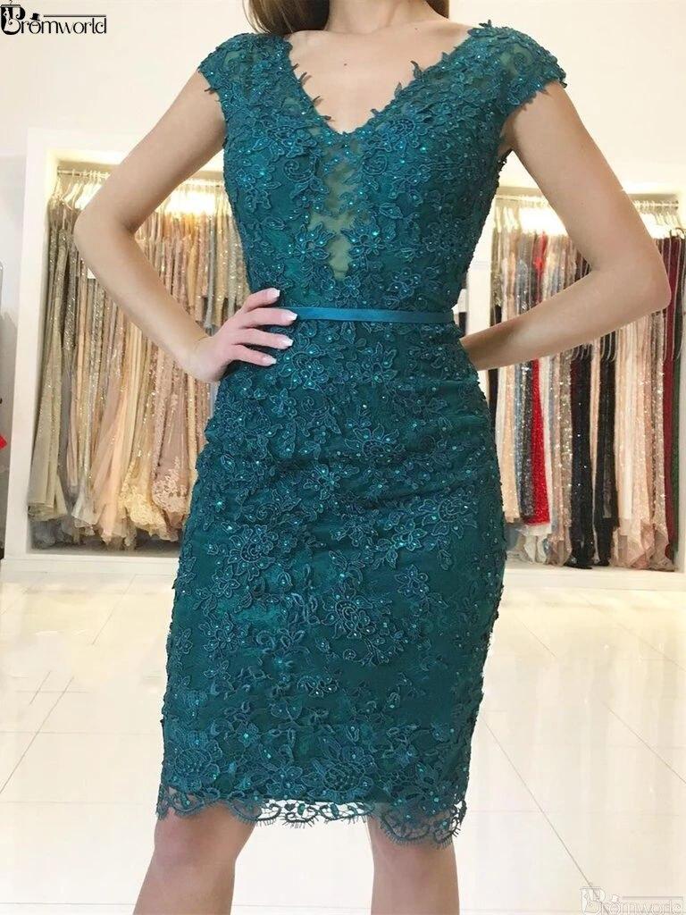 Green Homecoming   Dresses   2019 Short Mini Lace Beaded Sparkle V-neck Sheath Elegant Graduation Party   Cocktail     Dresses