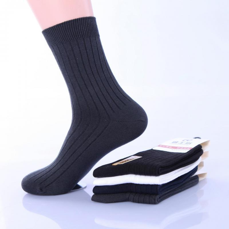6 Pairs 98 Cotton Striped Business Socks Lot Mens Autumn Winter Thick Black White Soks Male