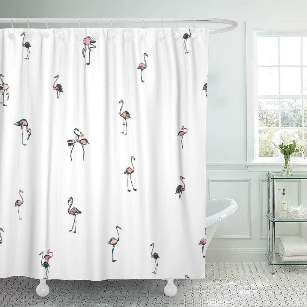 US $15 73 41% OFF|Shower Curtain with Hooks Watercolor Doodle Tropical  Exotic Birds Flamingos Summer Grey and Pink Animal Sketch Bathroom-in  Shower