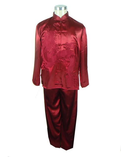 Burgundy Chinese Men's Silk Satin Embroidery Shirt Trousers Kung Fu Suit S M L XL XXL Free Shipping M0013