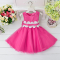 Retail Lace flower belt with bow-know dress Kid girl princess dress Wedding party dress  L9002