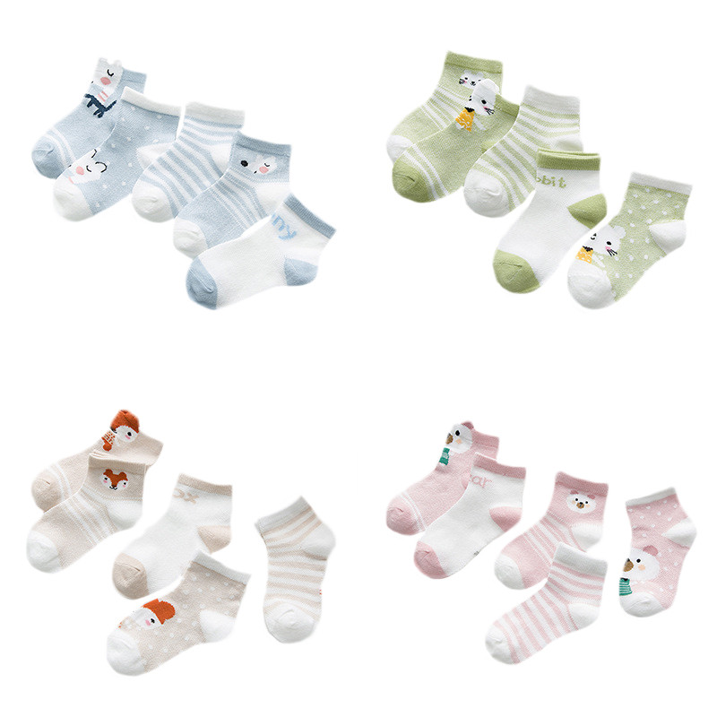 5Pairs/lot Girls Baby Socks Newborn Cotton Boys Striped Cartoon Infant Socks For Girls Summer Style Mesh Baby Socks Set