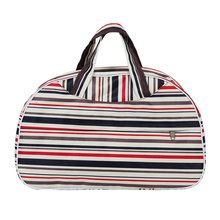 Mados vandeniui atsparus Oksfordo moterų krepšys Spalvotas juostos kelioninis krepšys Didelės rankos drobės Bagažo krepšiai