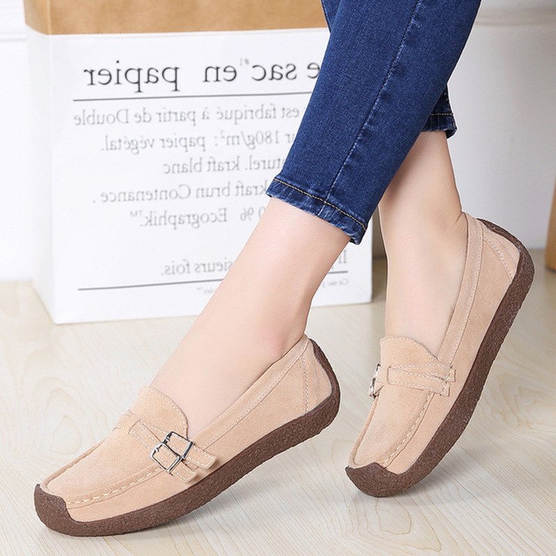 Dwayne Spring Autumn Women Moccasins Women's Flats Genuine   leather   Shoes Woman Lady Loafers Slip On   Suede   Shoes mocasines mujer