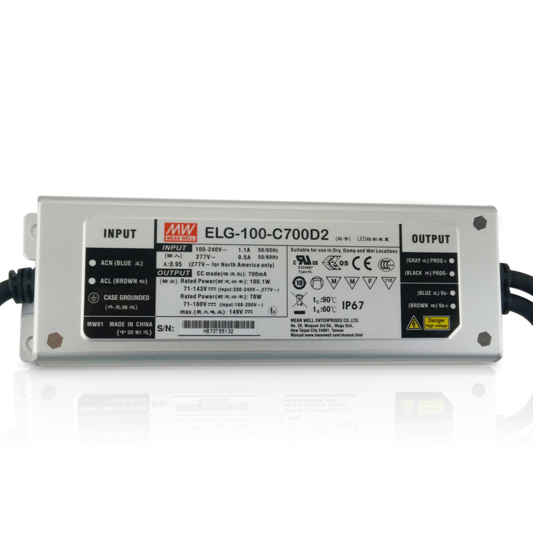 Original MEAN WELL ELG-100-C1050D2 constant current dimming LED driver 1050mA 48 ~ 95V 100W PFC meanwell power supply IP67 waterproof 100w led constant current source power supply driver 100 240v
