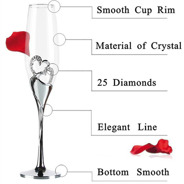 2 PCS /Set Crystal Wedding Toasting champagne flutes glasses Drink Cup Party marriage Wine decoration cups for parties Gift box  5