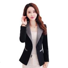 Черный Блейзер женская повседневная одежда Куртка Блейзер Feminino с длинным рукавом Элегантное короткое пальто Blaser Feminine женские модные топы 3XL C3179