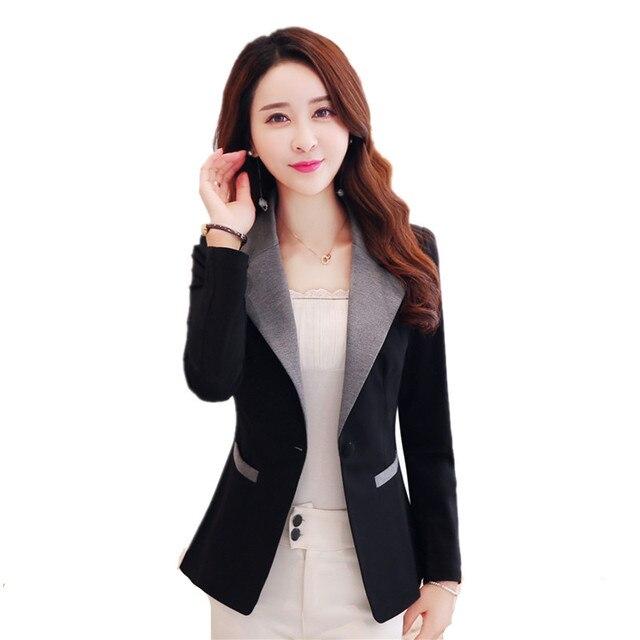 Negro, chaqueta de las mujeres ropa Casual chaqueta Blazer
