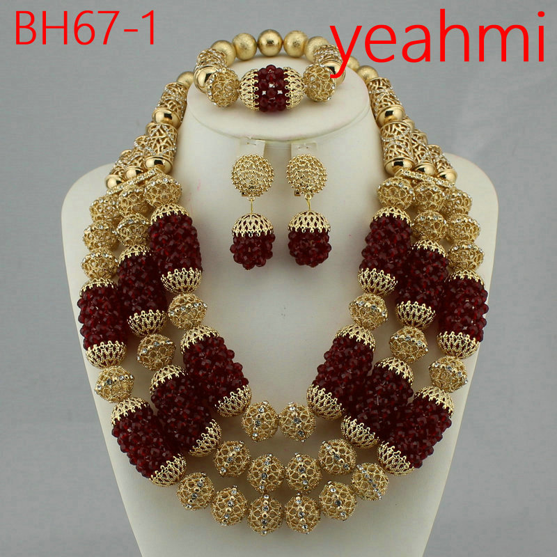 2018 New Gold Round Beads Necklace Set Classic African Beads Jewelry Set for Women, Best Nigeria Wedding Jewelry Gift BH67-2 polyresin round beads necklace 46 49cm 5 pack
