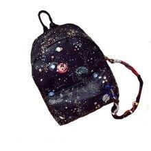 2016 Personnalité de La Marque Univers Ciel Étoilé Impression Sac À Dos Adolescents Cool Noir Sac D'école Grand Sac De Voyage Occasionnel Mochila