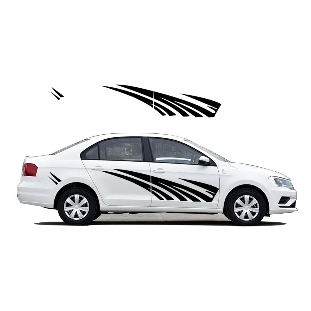 Pour VW pour Volkswagen Jetta voiture style voiture extérieur autocollants voiture rayures couverture autocollant créatif bricolage carrosserie décalcomanie PVC 2 pièces