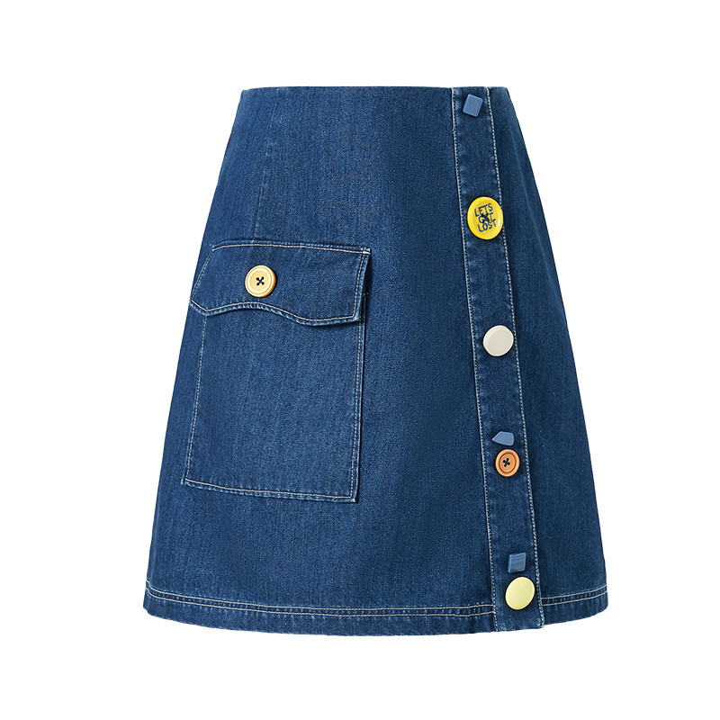 ARTKA 2019 Summer Women Denim Skirt High Quality Solid Color Casual A-line Skirt Lady Button Pocket Design Mini Skirts QN10094C