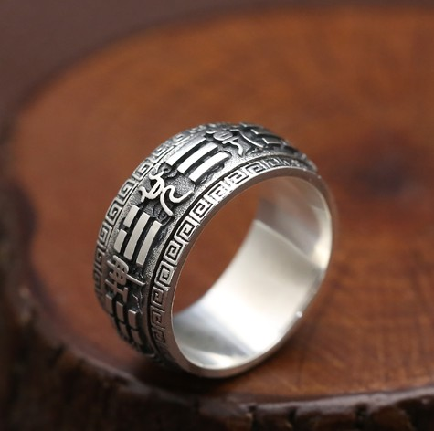 NEW! 925 Silver Fengshui Spinning Ring Good Luck Symbol Turning Ring Lucky Ring Man Jewelry Gift ring luisa vannini jewelry ring
