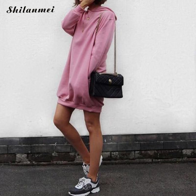 2018 New Fashion Autumn Hoodies Dress Women Sweatshirts Dress Long Sleeve Solid Pink Yellow Loose Mini Dresses Causal Vestidos