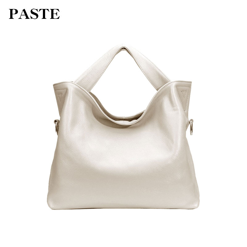 PASTE Women Handbags Genuine Leather Shoulder Bags Lady Crossbody Messenger Bag Big Totes 2018 New Soft Cow Leather P3002A 2018 fashion cow leather women shoulder bags tassel lady handbags genuine leather woman crossbody bag