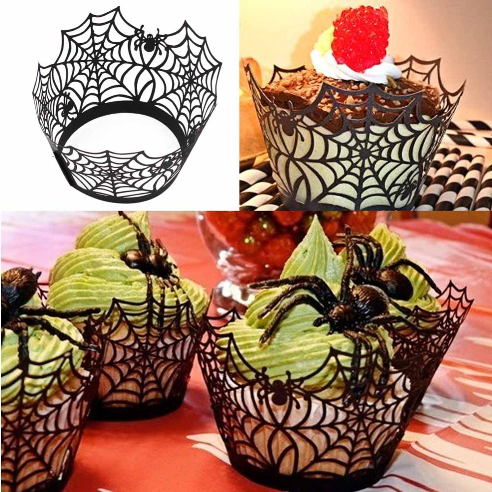 12pcs Cupcake Wrappers Liners for Halloween Decoration Laser Cut Cupcake Wrappers Decorations Event Party Supplies Wholesale