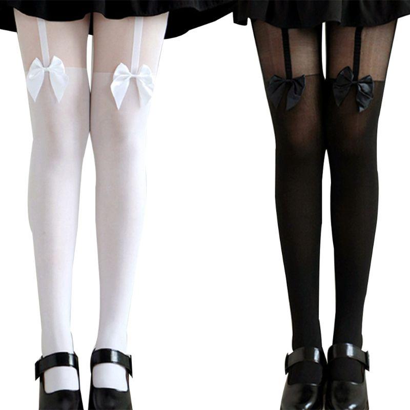 Women Girls Japanese Style Hosiery Pantyhose Fake High Stocking Mock Bow Suspender High Knee Tattoo Solid Cosplay Legging