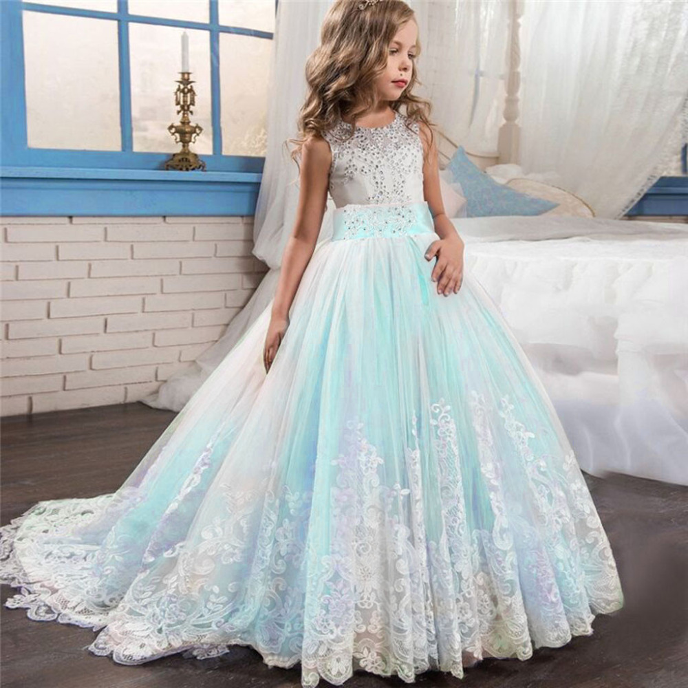 Flower Girl Dress Lace Princess Gown Pageant Wedding Bridesmaid Party Tutu Dress