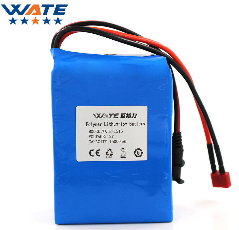 WATE 12V 15000mAh Li-ion battery pack DC 15A current discharge 12V li-ion polymer battery With 12.6V3A Charger free shipping 48v 15ah battery pack lithium ion motor bike electric 48v scooters with 30a bms 2a charger