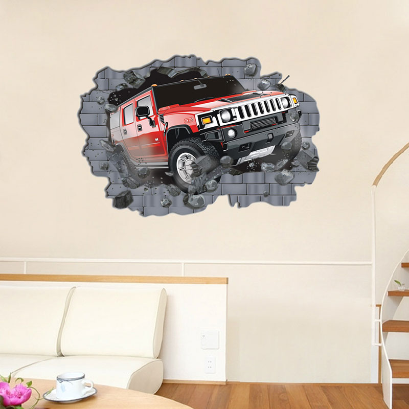 Graphics For D Car Wall Graphics Wwwgraphicsbuzzcom - Wall decals carscartoon cars break through wall art mural decor sticker cracked