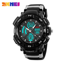 SKMEI 1211 Men's Digital Quartz Watch Fashion Dial Dual Time Zone Alarm Chronograph Man Wristwatches LED Back Light Waterproof
