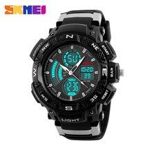 Skmei 1211 hombres dial dual time zone alarm chronograph digital de moda reloj de cuarzo hombre relojes de pulsera de led de luz de fondo a prueba de agua