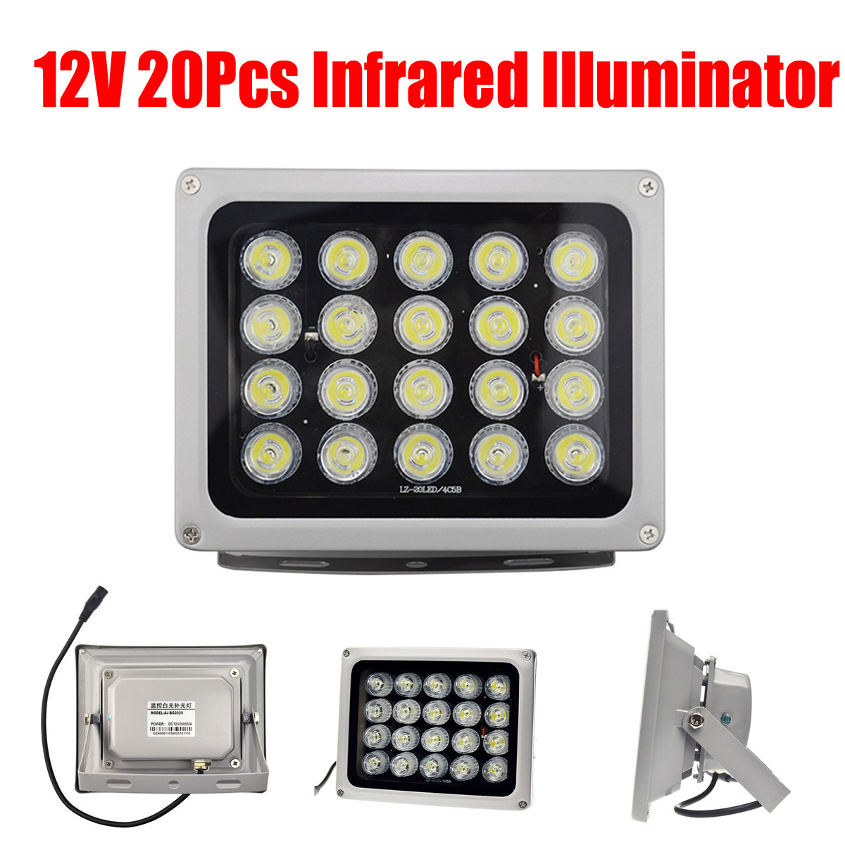 12V 90 Degree 20 LEDs IR Infrared Light Lamp IP65 850nm Waterproof Night Vision Infrared Illuminatoring for Home CCTV Security