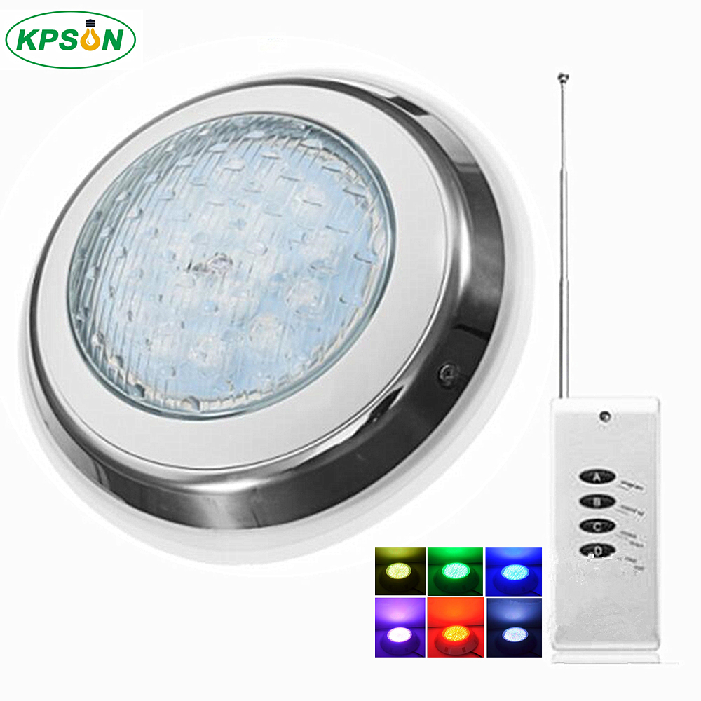 LED Swimming Pool Light RGB Surface Mounted Underwater Lights IP68 AC12V Stainless Steel Fountain Lamp Spa Pond Lamps underwater lights rgb led swimming pool light 24v ip68 waterproof 27w 316 stainless steel colorful changeable fountain lamp