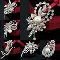 Atacado / varejo de moda amado roupas acessórios simples delicado cristal de prata flor broche Pin