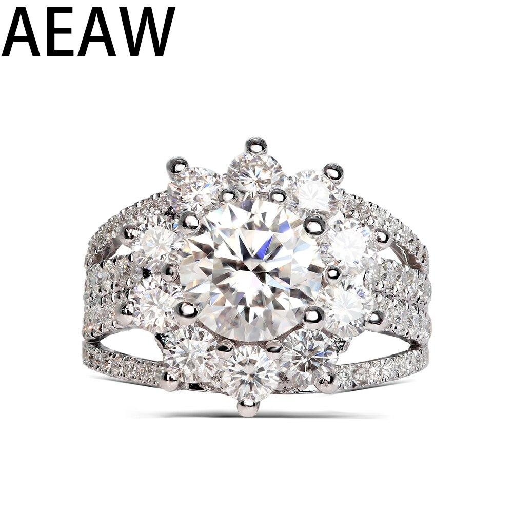 Solide 14K Weiß gold 2.5Ctw Center 6mm Moissanite Engagement Blume halo Ring Für Frauen-in Ringe aus Schmuck und Accessoires bei  Gruppe 1
