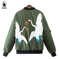 Women Casual Outwear 2016 New Fashion Female Top Crane Embroidery Thicken Warm Cotton Padded Coats Women's Autumn Winter Parka