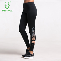 Bronzing Letters High Waist Stretched Sports Pants Gym Clothes Spandex Running Tights Women Sports Leggings Fitness