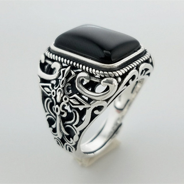 Square Natural Black Onyx Stone Solid Silver 925 Men Ring Wide Cuff Band 100% Real 925 Sterling Silver Jewelry Men Free Ring Box