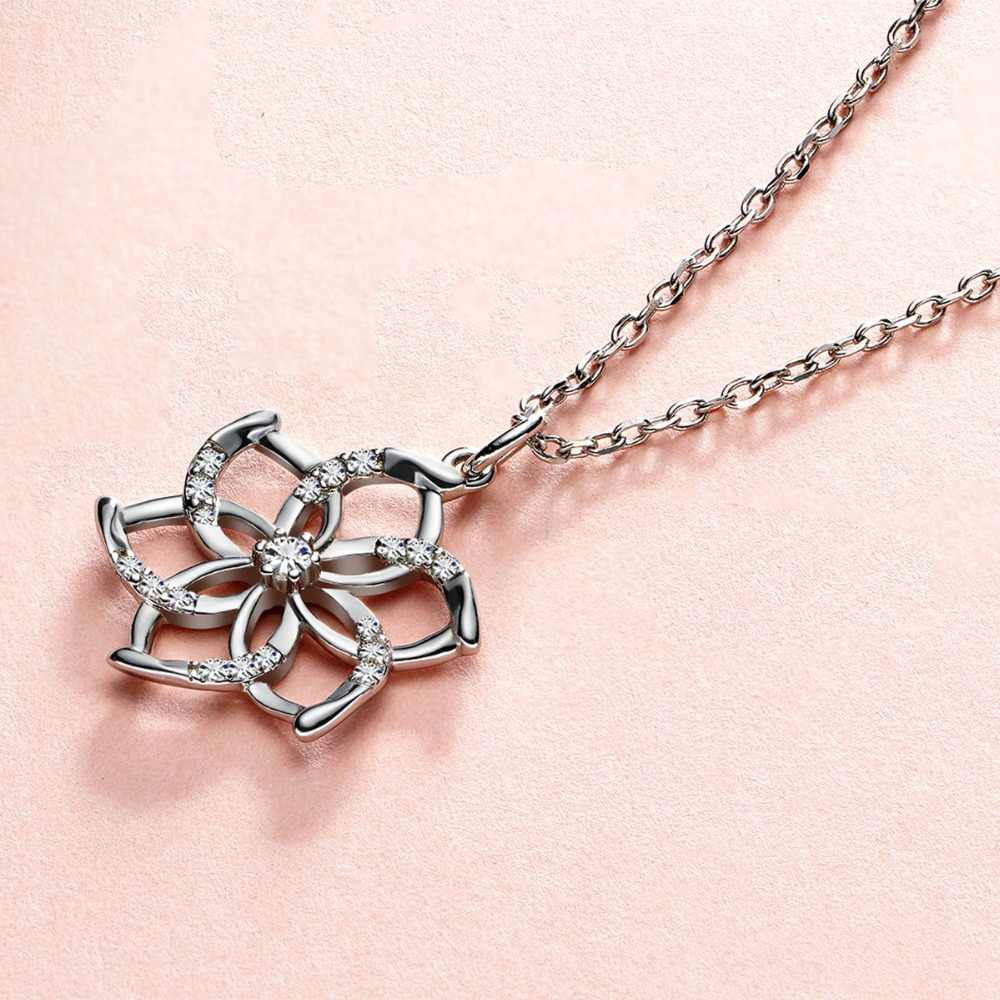 Charming 925 Silver Flower Pendant Necklace for Women Shining Crystal Pendant Chain Wedding Necklace Gift Jewelry for Girls