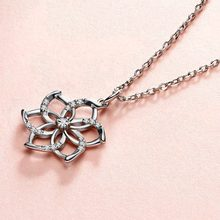 Charming 925 Silver Flower Pendant Necklace for Women Shining Crystal Pendant Chain Wedding Necklace Gift Jewelry for Girls(China)