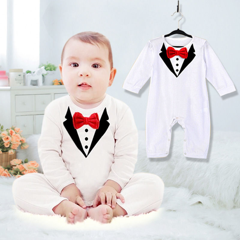 Newborn Baby Boy Wedding Formal Suit Gentleman Romper Tuxedo Outfit Casual 6-36M