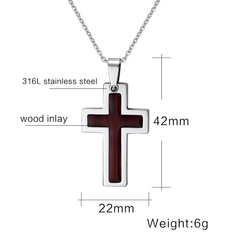 Image 3 - Meaeguet Wood Inlay Christian Cross Pendant Stainless Steel Chain